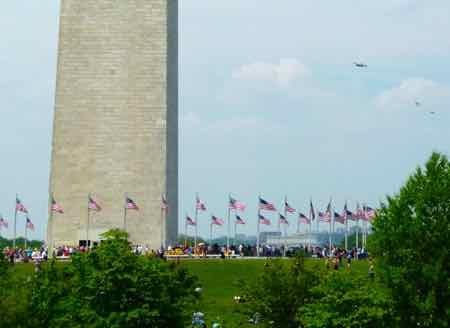 B-24 nears Washington Monument on VE Day celebration