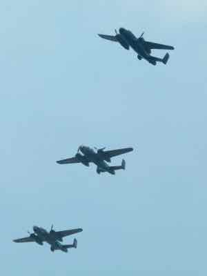 B-25 Mitchells break for landing