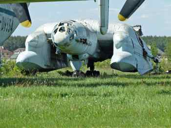 Partly dismantled Bartini-Beriev VVA-14 at Monino