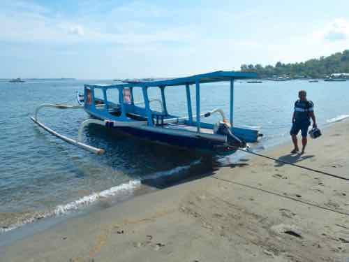 Traditional outrigger boat to Gili Islands from Lombok