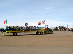 Tractors help antique airplane fans get around at the Cactus Fly-in