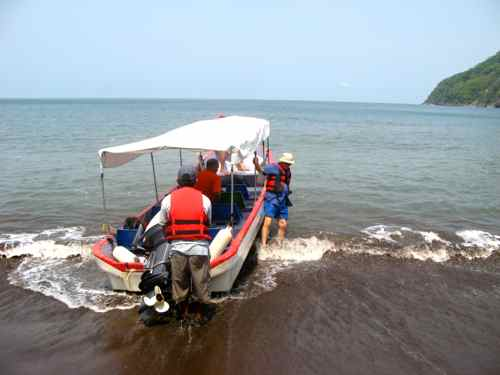 Launching the boat - Gulf of Fonseca