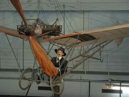 Demoiselle with Alberto Santos-Dumont manikin hangs from the ceiling