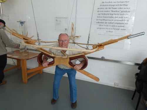 Mark demos a Lilienthal glider harness