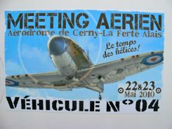 Meeting Aerien signs point the way to Aerodrome de Cerny-La Ferte Alais.