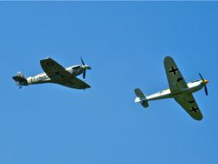 Supermarine Spitfire Mk LF Vb and Hispano HA-1112-M1L (Messerschmitt Bf-109) Buchon