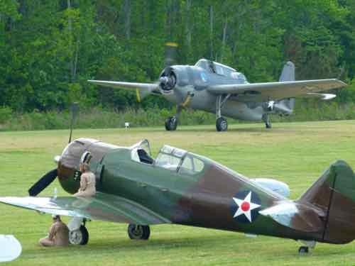 Grumman TBM-3E Avenger and North American P-64