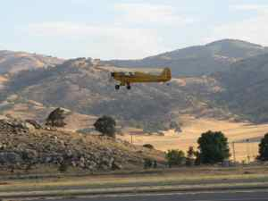 J-3 Cub takes off from Tehachapi