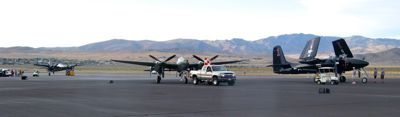 Tigercats and P-38 Lightnings on display at the end of the day at Reno Air Races