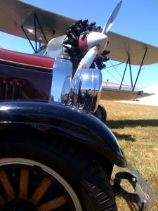 1928 Stearman and antique auto