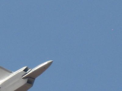 Got only the nose of the F-22 Raptor... we were trying to shoot ahead of it... a little too far!
