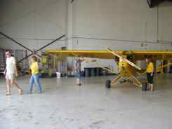 Cub in an Albuquerque hangar for the night