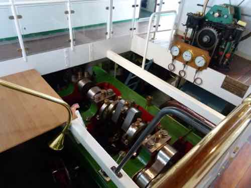 Engine room paddle wheel steamboat