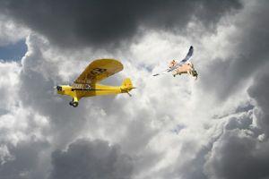Kirby and Yo help J-3 Cub in Thunderstorm