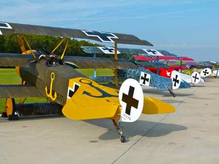 Line up of WWI planes on the ground Military Aviation Museum