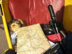 Maps, check, headphones, check, Bear...Oh yeah