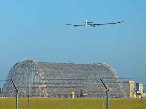 Solar Impulse and Moffett Hangar One
