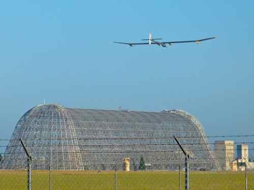 Solar Impulse and Moffett Hangar One