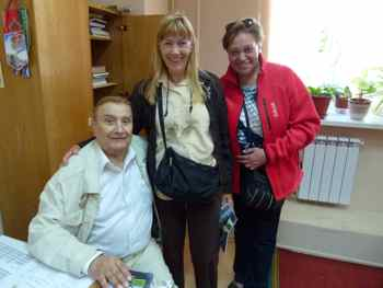 Soviet Pilot Hero with Judy and guide at Monino.