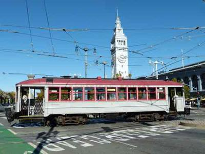 Street car #1 was built for the San Francisco Municipal Railway in 1912.  This restoration is in the original design with rattan seats.