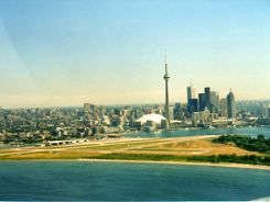 Aerial view Toronto Island Airport and Harbourfront