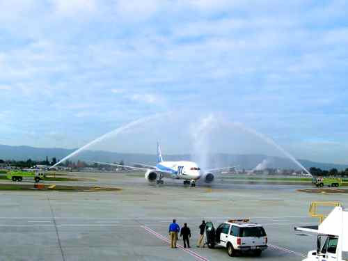 Water Cannon salute for 787 arrival