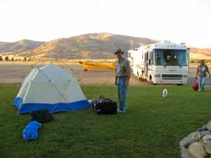 J-3 Cub and camp at Tehachapi Airport
