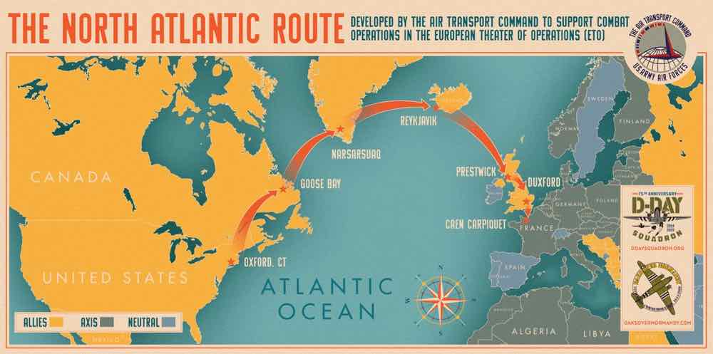 North Atlantic Route map for WWII Aircraft