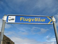 Flugvollur signs lead to all kinds of small airports in Iceland