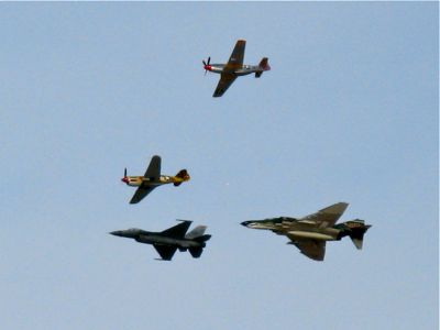 Finally got a decent shot.  From the top, clockwise, P-40 Warhawk, F-4 Phantom, F-16 Fighting Falcon, P-51 Mustang... Whew!